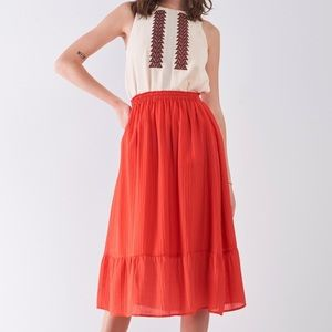 Afterglow Red High-Waisted Slightly Pleated Skirt